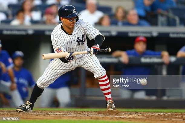 Ronald Torreyes of the New York Yankees in action against the Toronto Blue Jays at Yankee Stadium on July 3 2017 in the Bronx borough of New York...