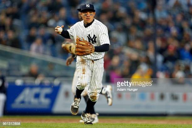 Ronald Torreyes of the New York Yankees in action against the Toronto Blue Jays during the third inning at Yankee Stadium on April 19 2018 in the...