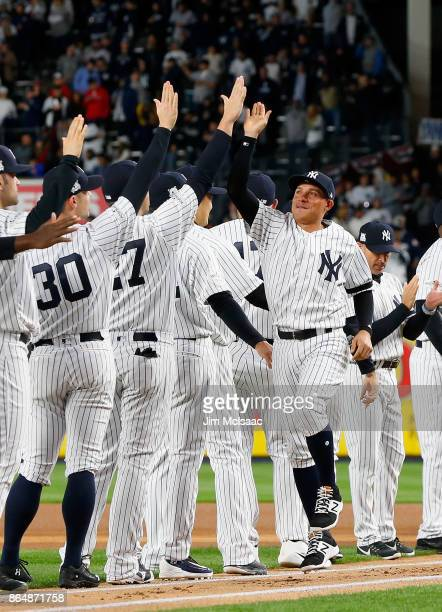 Ronald Torreyes of the New York Yankees is introduced before Game Three of the American League Championship Series against the Houston Astros at...