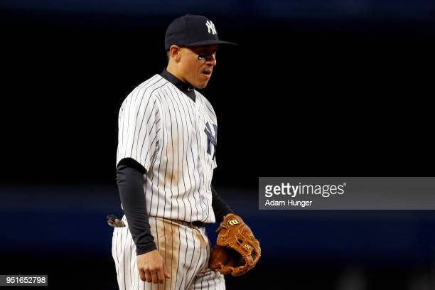 Ronald Torreyes of the New York Yankees looks on against the Toronto Blue Jays during the fifth inning at Yankee Stadium on April 19 2018 in the...