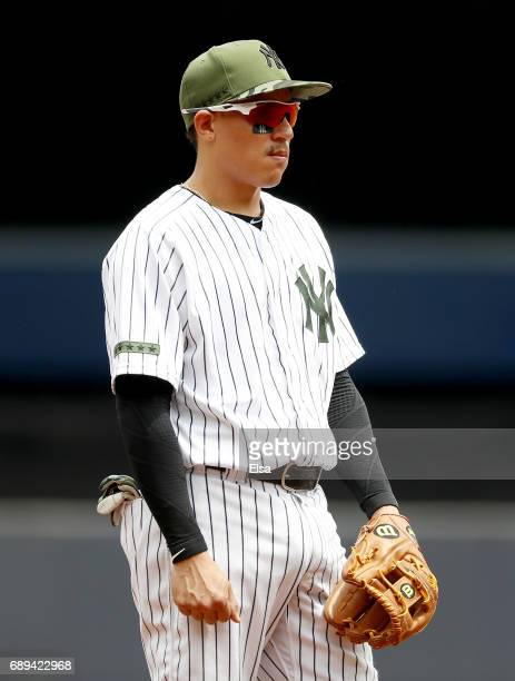 Ronald Torreyes of the New York Yankees stands at third base in the second inning against the Oakland Athletics on May 28 2017 at Yankee Stadium in...
