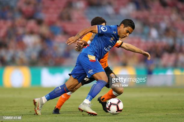Ronald Vargas of Newcastle Jets controls the ball during the round 12 ALeague match between the Newcastle Jets and the Brisbane Roar at McDonald...