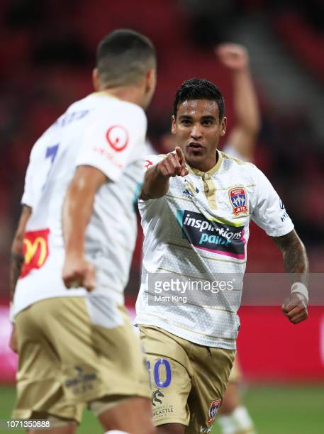 Ronald Vargas of the Jets celebrates with Dimi Petratos after scoring a goal during the round five A-League match between the Western Sydney...