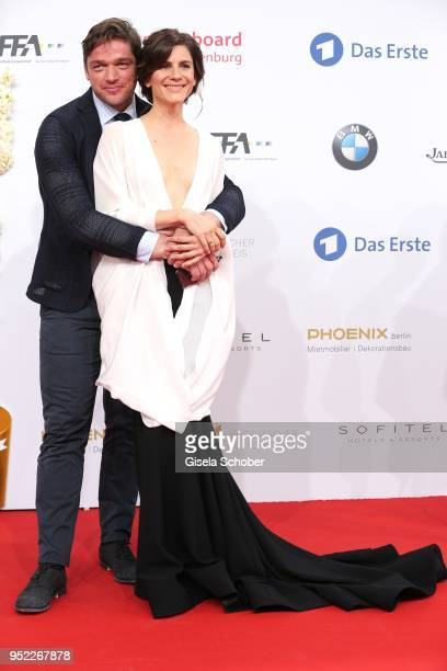 Ronald Zehrfeld and Christina Hecke during the Lola German Film Award red carpet at Messe Berlin on April 27 2018 in Berlin Germany