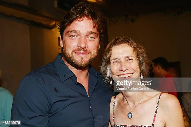 Ronald Zehrfeld and Mariette Rissenbeek attend the German Films Reception at Osteria Chiara during the 68th Locarno Film Festival on August 8 2015 in...