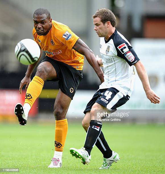 Ronald Zubar of Wolves battles with Alan Judge of Notts County during the Pre Season Friendly between Notts County and Wolverhampton Wanderers at...