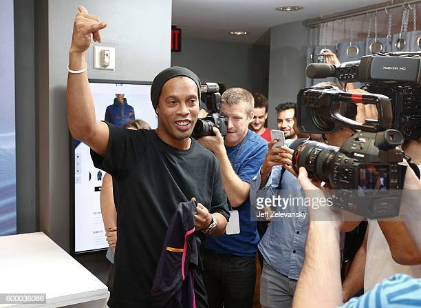 Ronaldhino greets FC Barcelona fans at Niketown to celebrate the Club's arrival to New York on September 7 2016 in New York City