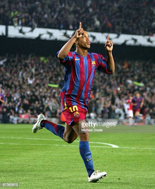 Ronaldhino of Barcelona celebrates scoring during the Champions League Quarter Final second leg match between Barcelona and Benfica at Camp Nou on...