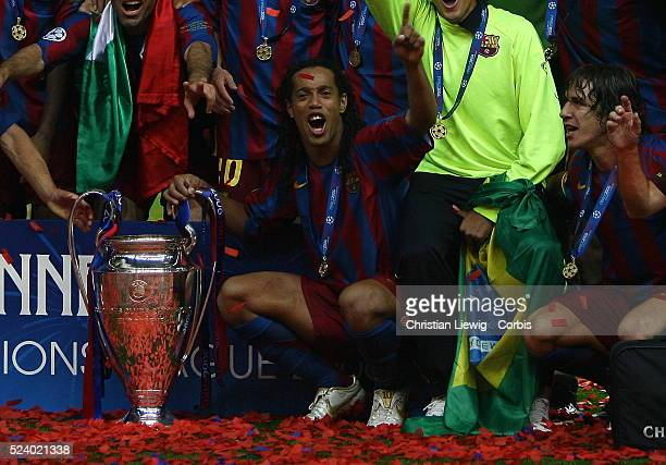 Ronaldinho after winning the UEFA Champions League Final between Barcelona and Arsenal in the Stade de France in St Denis near Paris Barcelona won 21