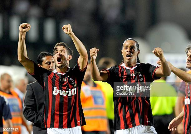 Ronaldinho and Alexandre Pato of Milan celebrates the victory during the Serie A match between Siena and Milan at Artemio Franchi Montepaschi Arena...