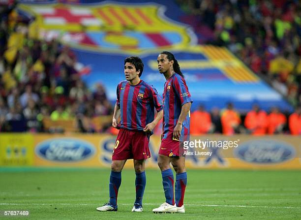 Ronaldinho and Deco of Barcelona during the UEFA Champions League Final between Arsenal and Barcelona at the Stade de France on May 17 2006 in Paris...
