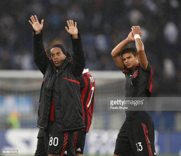 Ronaldinho and Pato of Milan celebrate the victory after the Serie A match between SS Lazio and AC Milan at Stadio Olimpico on November 8 2009 in...