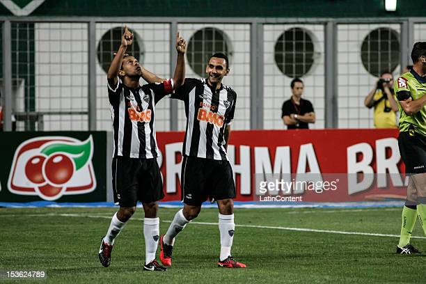 Ronaldinho and Rafael Marques of Atlético MG celebrate a scored goal during a match between Atlético MG and Figueirense as part of the Brazilian...