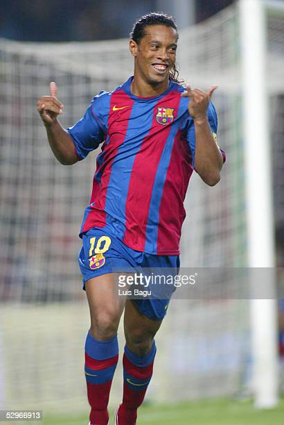 Ronaldinho celebrates his goal during the La Liga match between FC Barcelona and Villarreal on May 22 2005 at Camp Nou stadium in Barcelona Spain
