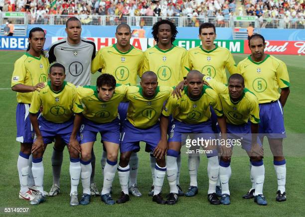 Ronaldinho Dida Adriano Roque Junior Lucio Emerson Robinho Kaka Ze Roberto Maicon and Gilberto line up for photographers before the FIFA...