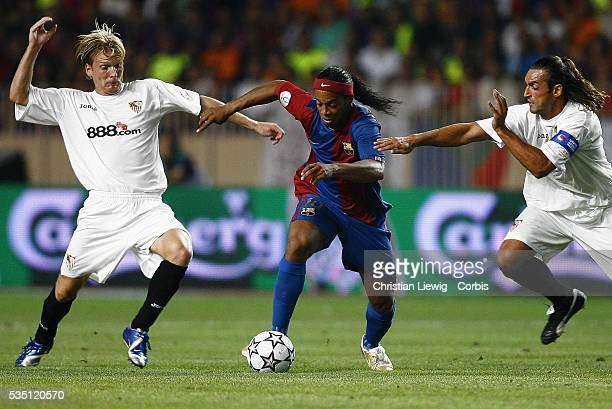 Ronaldinho during the 2006 UEFA Super Cup match between FC Barcelona and Sevilla FC