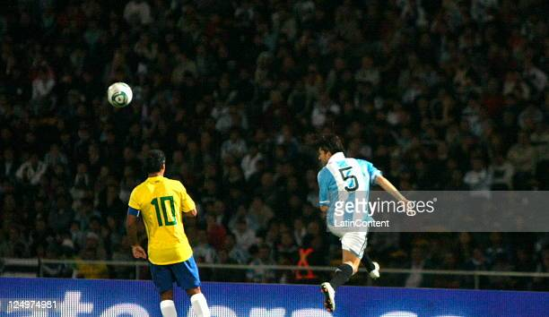 Ronaldinho from Brazilin action during the first match of the Superclasico de la Americas at Mario Alberto Kempes Stadium on September 14 2011 in...
