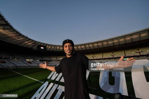 Ronaldinho Gaucho visits the Mineirao stadium on September 24, 2020 in Belo Horizonte, Brazil. It is the first time that the former player appears in...