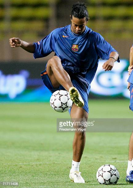 Ronaldinho in action during an FC Barcelona training session for the UEFA Super Cup Final at the Stadium Louis II on August 24 2006 in Monte Carlo...