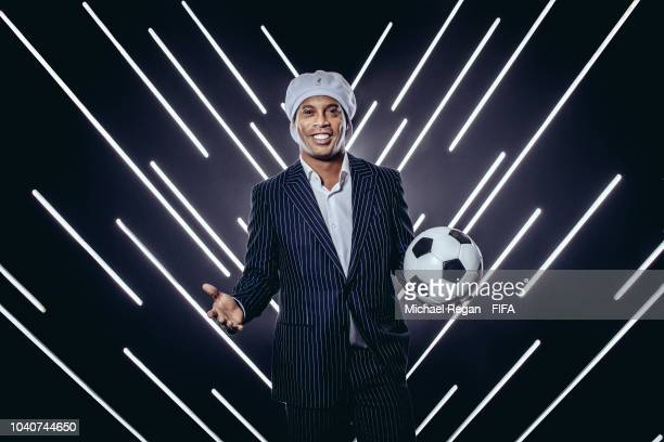 Ronaldinho is pictured inside the photo booth prior to The Best FIFA Football Awards at Royal Festival Hall on September 24 2018 in London England