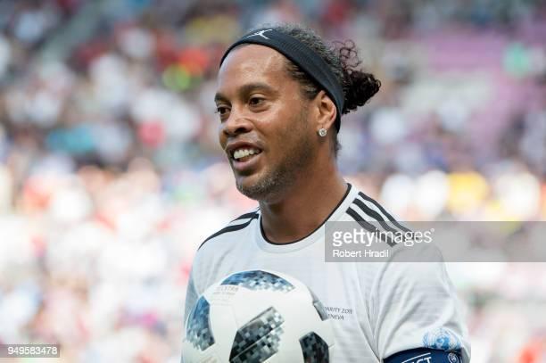 Ronaldinho looks on during the UEFA Match for Solidarity at Stade de Geneva on April 21 2018 in Geneva Switzerland