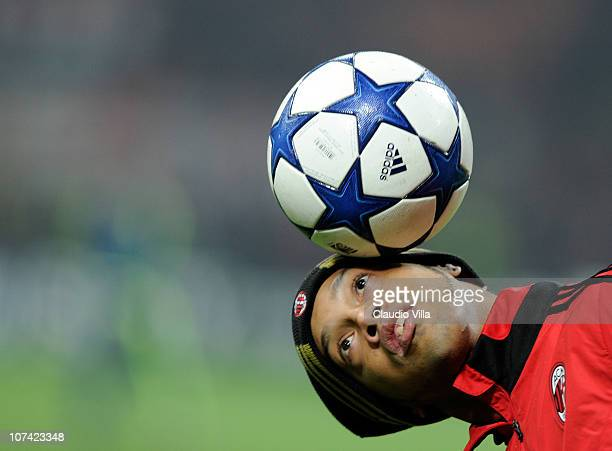 Ronaldinho of AC Milan before the UEFA Champions League Group G match between AC Milan and AFC Ajax at Stadio Giuseppe Meazza on December 8, 2010 in...