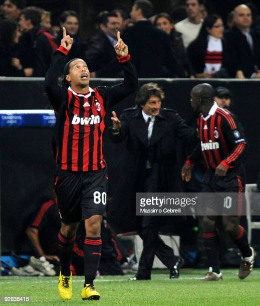 Ronaldinho of AC Milan Celebrates after scoring a penalty during the UEFA Champions League group C match between AC Milan and Real Madrid at the...