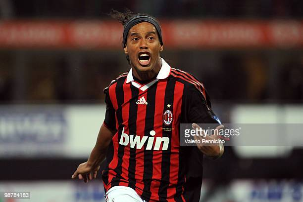 Ronaldinho of AC Milan celebrates his goal during the Serie A match between AC Milan and ACF Fiorentina at Stadio Giuseppe Meazza on May 1, 2010 in...