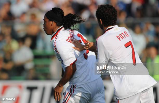 Ronaldinho of AC Milan celebrates his goal with Alexandre Pato during the Serie A match between Atalanta BC and AC Milan at Stadio Atleti Azzurri...