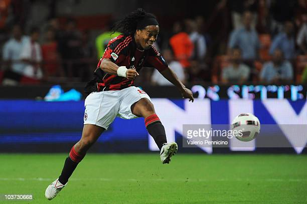 Ronaldinho of AC Milan in action during the Serie A match between AC Milan and US Lecce at Stadio Giuseppe Meazza on August 29 2010 in Milan Italy