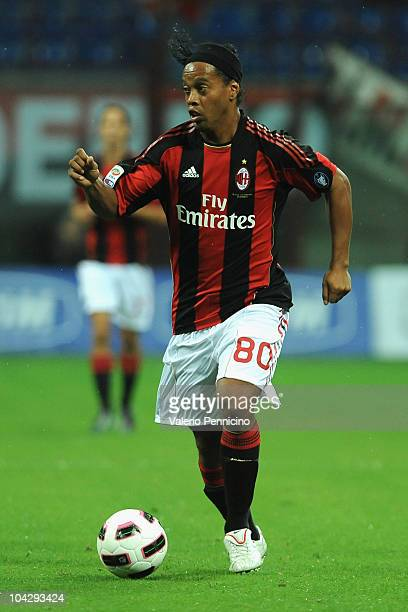Ronaldinho of AC Milan in action during the Serie A match between AC Milan and Catania Calcio at Stadio Giuseppe Meazza on September 18 2010 in Milan...