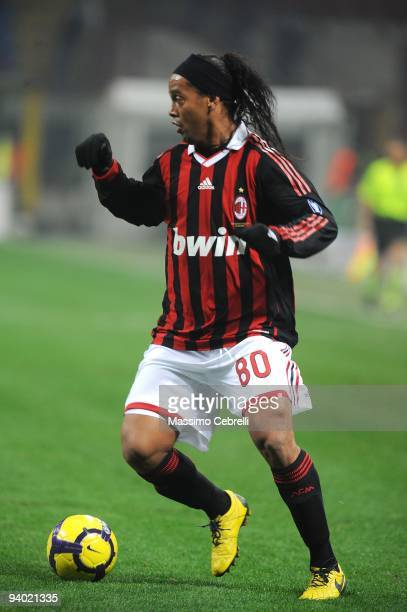 Ronaldinho of AC Milan in action during the Serie A match between AC Milan and UC Sampdoria at Stadio Giuseppe Meazza on December 5 2009 in Milan...