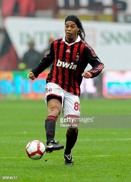 Ronaldinho of AC Milan in action during the Serie A match between AC Milan and SSC Napoli at Stadio Giuseppe Meazza on March 21 2010 in Milan Italy
