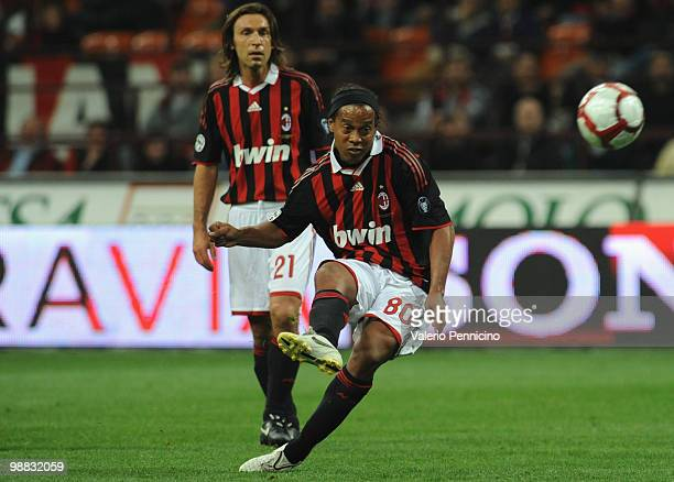 Ronaldinho of AC Milan in action during the Serie A match between AC Milan and ACF Fiorentina at Stadio Giuseppe Meazza on May 1 2010 in Milan Italy
