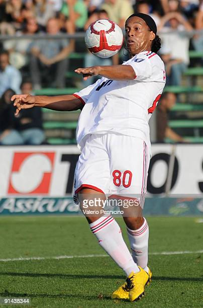 Ronaldinho of AC Milan in action during the Serie A match between Atalanta BC and AC Milan at Stadio Atleti Azzurri d'Italia on October 04 2009 in...