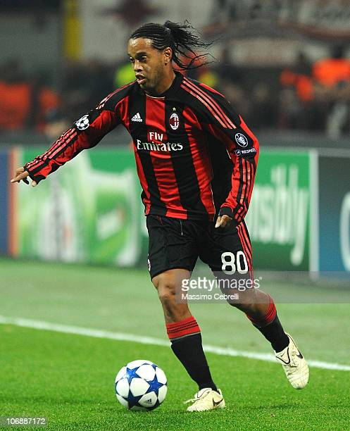 Ronaldinho of AC Milan in action during the UEFA Champions League group G match between AC Milan and Real Madrid at Stadio Giuseppe Meazza on...