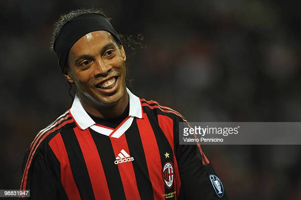 Ronaldinho of AC Milan looks on during the Serie A match between AC Milan and ACF Fiorentina at Stadio Giuseppe Meazza on May 1 2010 in Milan Italy