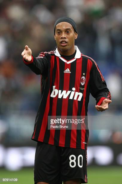 Ronaldinho of AC Milan looks on during the Serie A match between SS Lazio and AC Milan at Stadio Olimpico on November 8 2009 in Rome Italy
