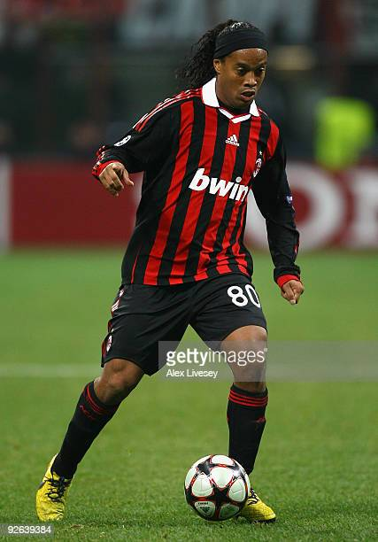 Ronaldinho of AC Milan runs with the ball during the UEFA Champions League Group C match between AC Milan and Real Madrid at the San Siro on November...