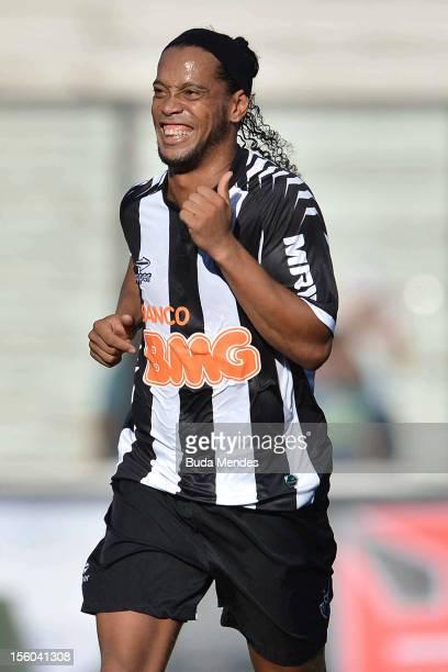 Ronaldinho of Atletico MG celebrates a scored goal against Vasco Da Gama during a match between Vasco Da Gama and Atletico MG as part of the...