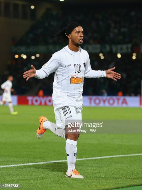 Ronaldinho of Atletico Mineiro celebrates scoring to make it 11 during the FIFA Club World Cup Semi Final match between Raja Casablanca and Atletico...