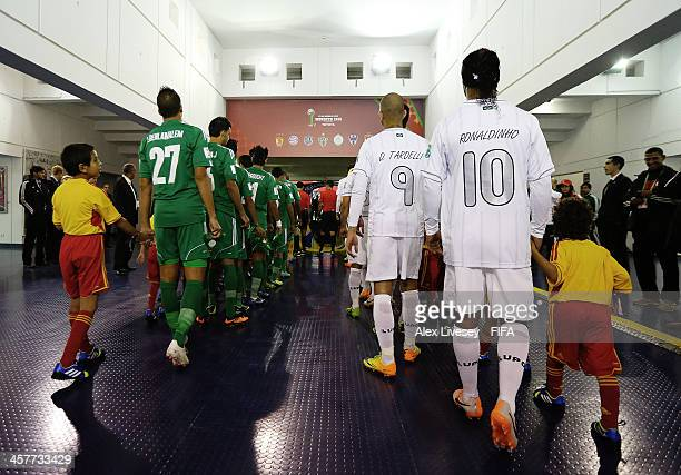 Ronaldinho of Atletico Mineiro is seen as the players leave the tunnel prior to the FIFA Club World Cup Semi Final match between Raja Casablanca and...