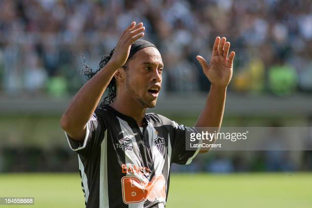 Ronaldinho of Atlético MG celebrates a goal during a match between Atlético MG and Fluminense as part of Campeonato Brasileiro 2012 at Estádio...