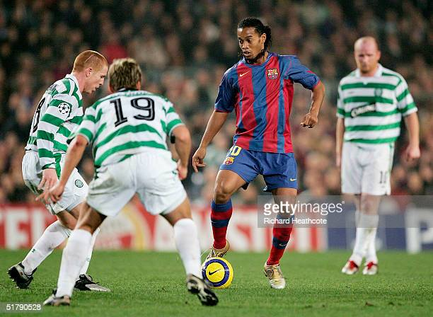 Ronaldinho of Barca finds himself surrounded by Celtic players during the UEFA Champions League Group F match between FC Barcelona and Glasgow...