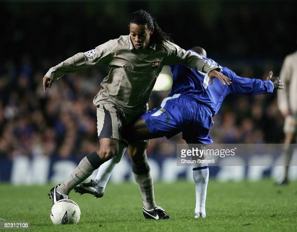 Ronaldinho of Barcelona battles with Claude Makelele of Chelsea during the UEFA Champions League First Knockout Round Second Leg match between...