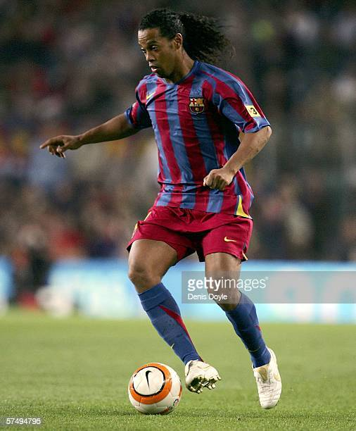 Ronaldinho of Barcelona brings the ball forward during the Primera Liga match between Barcelona and Cadiz at the Camp Nou stadium on April 29 2006 in...