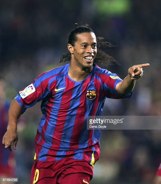Ronaldinho of Barcelona celebrates after scoring Barcelona's first goal during the Primera Liga match between Barcelona and Cadiz at the Camp Nou...