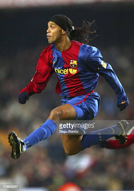 Ronaldinho of Barcelona celebrates his goal during La Liga match between FC Barcelona and Atletico Madrid at the Camp Nou stadium on December 21 in...