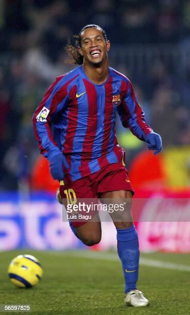 Ronaldinho of Barcelona celebrates his goal during the La Liga match between FC Barcelona and Athletico Bilbao at the Nou Camp stadium on January 15...