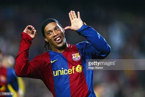 Ronaldinho of Barcelona celebrates his goal during the La Liga match between FC Barcelona and Villarreal at Camp Nou stadium on November 25 2006 in...